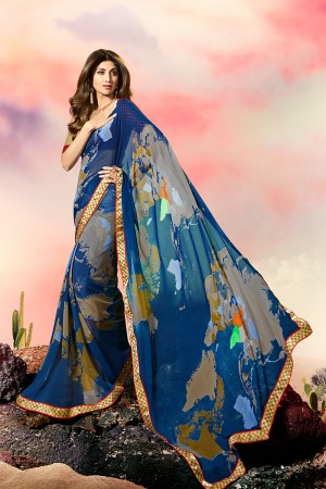 Shilpa Shetty Blue Georgette Print with Lace Border Saree