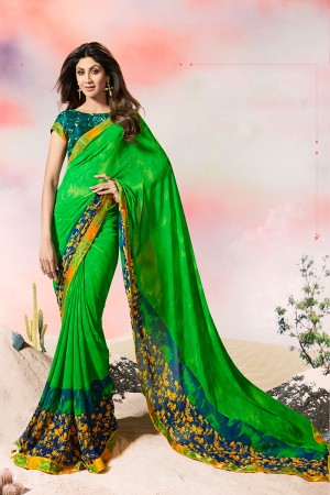 Shilpa Shetty Green Georgette Print with Lace Border Saree