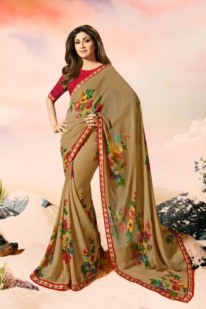 Shilpa Shetty Coffee Georgette Print with Lace Border Saree