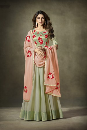 Jennifer Winget Pista Green Georgette Heavy Embroidery Resham Work with Sequin work Salwar Kameez