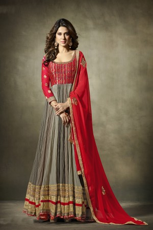 Jennifer Winget Multi color Georgette&Jacquard Hand Crafted Embroidery with Antique Beads Neckline, Jaipuri Gotta and leather motifs with Glitter Salwar Kameez