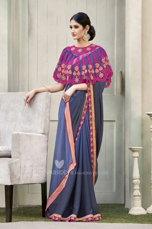 Blissful Blue & Grey Georgette & Chiffon  Embroidery Lace Border with Embroidery Poncho Saree