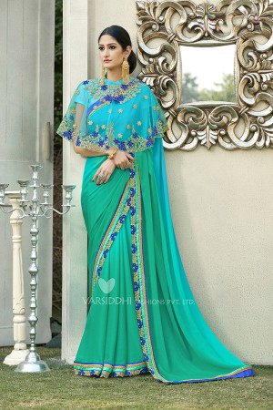 Charismatic Sky Blue Georgette & Chiffon  Embroidery Lace Border with Embroidery Poncho Saree