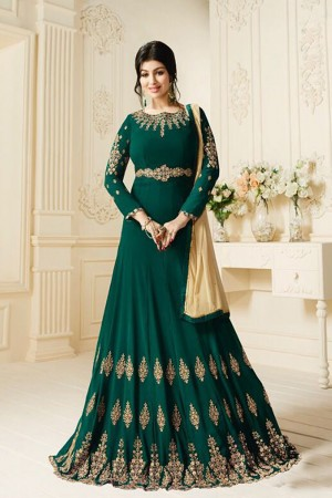 Ayesha Takia Dark Green Georgette Heavy Embroidery Butta Kali Work  Salwar Kameez