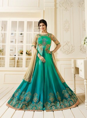 Ayesha Takia Green Georgette Heavy Embroidery Butta Kali Work  Salwar Kameez