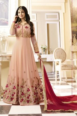 Ayesha Takia Peach Georgette Heavy Embroidery Thread and Zari Work with Stone Work Salwar Kameez