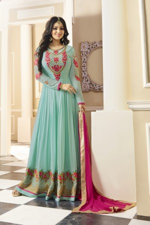Ayesha Takia SkyBlue Georgette Heavy Embroidery Thread and Zari Work with Stone Work Salwar Kameez