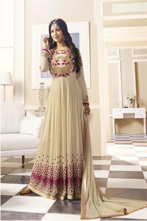 Ayesha Takia Cream Georgette Heavy Embroidery Thread and Zari Work with Stone Work Salwar Kameez