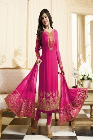 Ayesha Takia Rani Pink Georgette Heavy Embroidery Thread and Zari Work Salwar Kameez