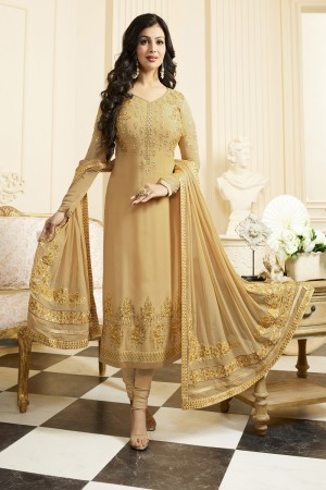 Ayesha Takia Golden Georgette Heavy Embroidery Thread and Zari Work Salwar Kameez