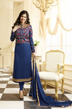 Ayesha Takia Navy Blue Georgette Heavy Embroidery Thread and Zari Work Salwar Kameez