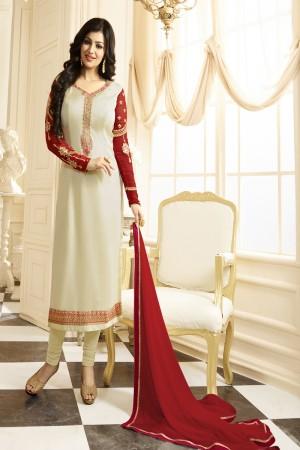 Ayesha Takia OffWhite Georgette Heavy Embroidery Thread and Zari Work Salwar Kameez