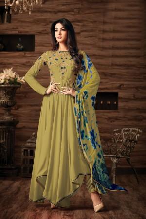 Sonal Chauhan Mehendi Georgette Heavy Embroidery Thread and Zari Work  Salwar Kameez