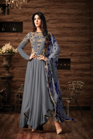 Sonal Chauhan Grey Georgette Heavy Embroidery Thread and Zari Work  Salwar Kameez