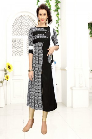 Contemporary Black & White Rayon Print with Fancy Botton Kurti