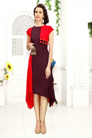 Brilliant Red & Maroon Rayon Print with Fancy Botton Kurti
