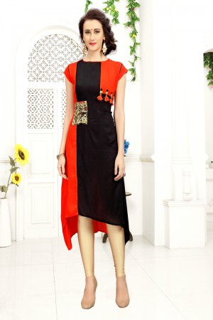 Creative Black & Orange Rayon Print with Fancy Botton Kurti