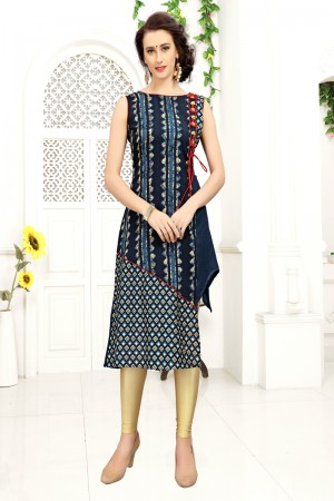 Enticing Navy Blue Rayon Print with Fancy Botton Kurti