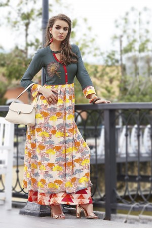 Exquisite Multicolor Reyon Print with Fancy Kurti