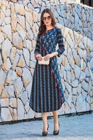 Desirable Multi Color Rayon Print with Fancy Botton and Pompom  Kurti