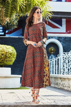 Beguiling Multi Color Rayon Print with Fancy Botton and Pompom  Kurti
