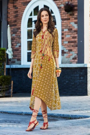 Enriching Multi Color Rayon Print with Fancy Botton and Pompom  Kurti