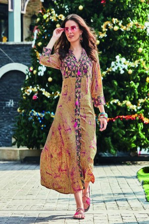 Fantastic Multi Color Rayon Print with Fancy Botton and Pompom  Kurti
