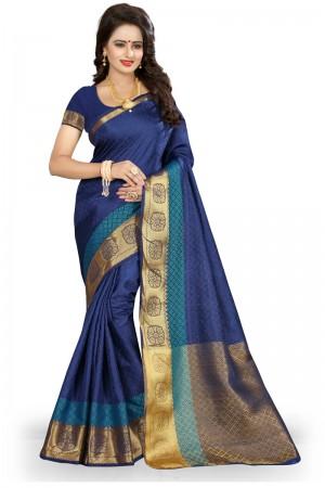 Marvelous Blue Poly Cotton Jacquard Saree