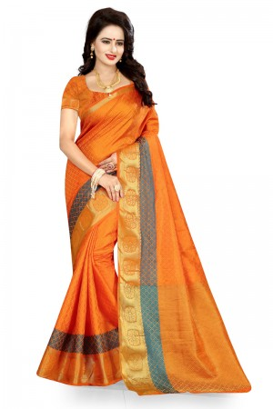 Pleasant Orange Poly Cotton Jacquard Saree