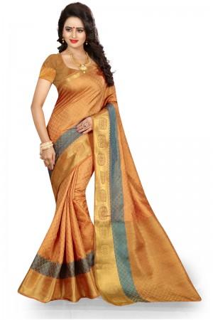 Impressive Chiku Poly Cotton Jacquard Saree