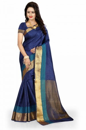 Peppy Blue Poly Cotton Jacquard Saree