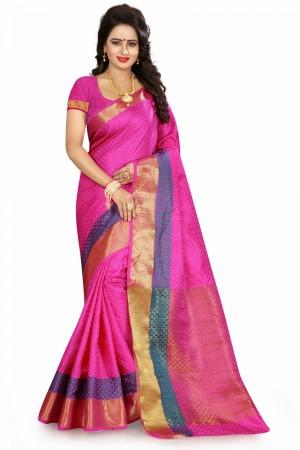 Bewitching Pink Poly Cotton Jacquard Saree