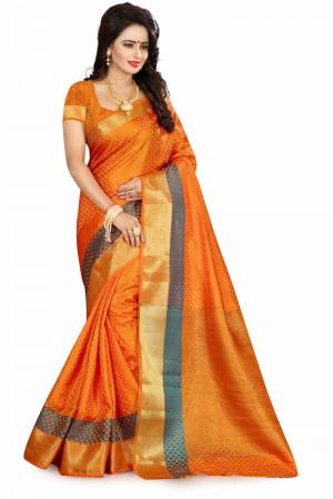 Picturesque Orange Poly Cotton Jacquard Saree