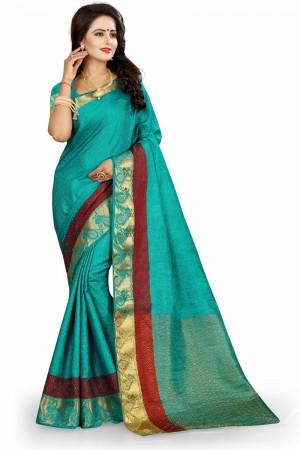 Beautiful Rama Poly Cotton Jacquard Saree