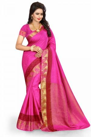 Royal Pink Poly Cotton Jacquard Saree