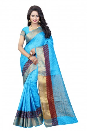 Splendiferous Firozi Poly Cotton Jacquard Saree