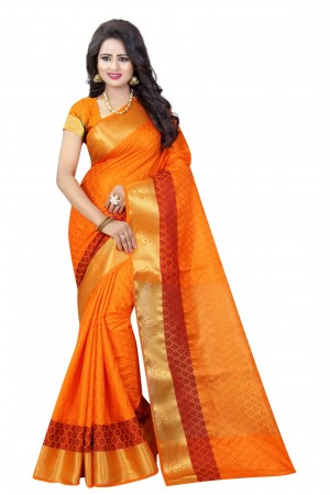 Voguish Orange Poly Cotton Jacquard Saree