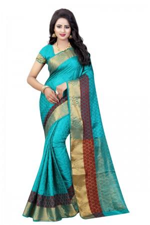 Graceful Rama Poly Cotton Jacquard Saree