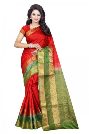 Enthralling Red Poly Cotton Jacquard Saree