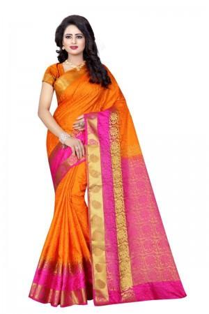 Captivating Orange Poly Cotton Jacquard Saree