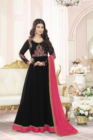 Ayesha Takia Black Georgette Heavy Embroidery Thread and Zari Work  Salwar Kameez