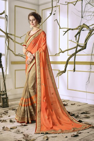 Marvelous Chiku&Orange Georgette & Chiffon Heavy Embroidery Panel Work with Lace Border Saree