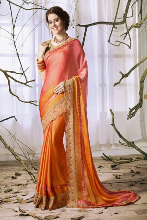 Impressive OrangeA&Peach Georgette & Chiffon Heavy Embroidery Panel Work with Lace Border Saree