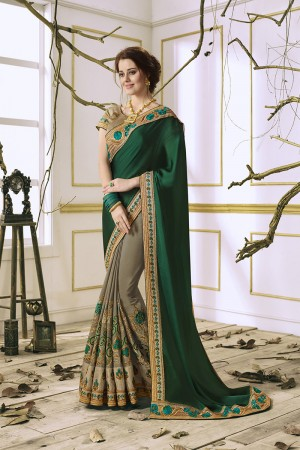 Peppy Dark Green Georgette & Chiffon Heavy Embroidery Panel Work with Lace Border Saree