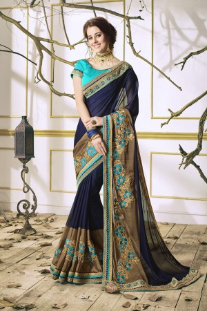 Graceful Navy Blue Georgette & Chiffon Heavy Embroidery Panel Work with Lace Border Saree
