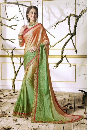 Picturesque Parrot Green Georgette & Chiffon Heavy Embroidery Panel Work with Lace Border Saree