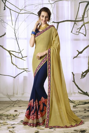 Beautiful Navy Blue Georgette & Chiffon Heavy Embroidery Panel Work with Lace Border Saree