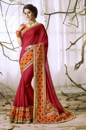 Refreshing Maroon Georgette & Chiffon Heavy Embroidery Panel Work with Lace Border Saree