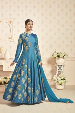 Ayesha Takia Blue Taffeta Silk Heavy Embroidery Butta Work On Top and Sleeve Salwar Kameez