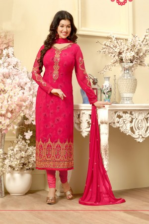 Ayesha Takia Red Georgette Heavy Embroidery on Neck and Sleeve Salwar Kameez